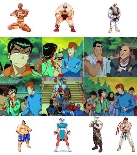 personagens de Streey Fighter aparecendo em Yu Yu Hakusho